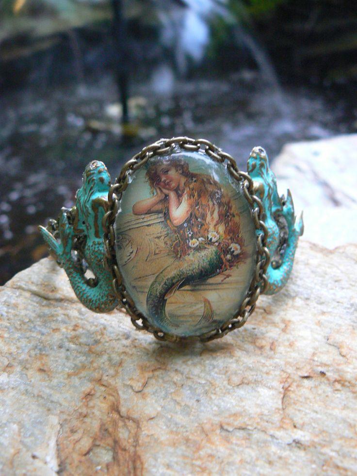 mermaid verdigris cuff bracelet mermaid jewelry by gildedingypsy, $42.50