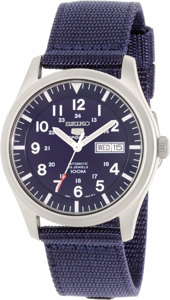 Amazon.com: Seiko 5 Sport Automatic Navy Blue Canvas Mens Watch SNZG11: Seiko: Clothing