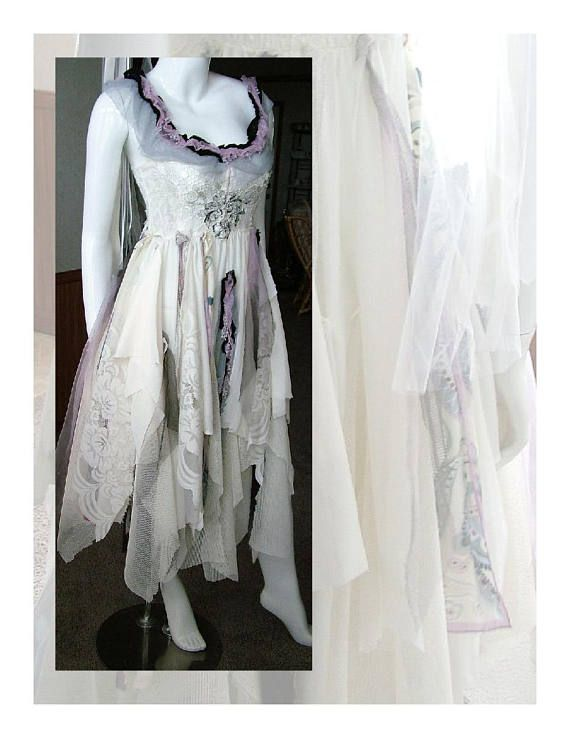 Bohemian tattered wedding dress romantic shabby cottage event