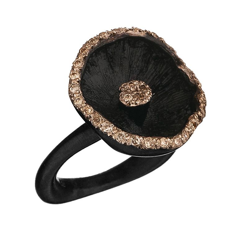Shitake mushroom ring in #black #silver and rse gold and brilliants from the…