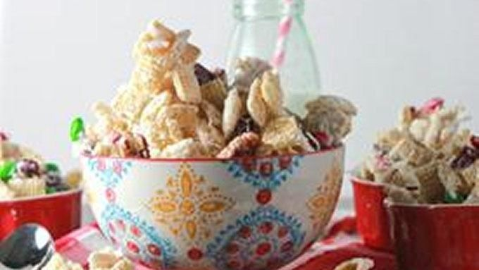 Say Merry Chex Mix! with this frosty little snack mix thats perfect for parties and presents alike.