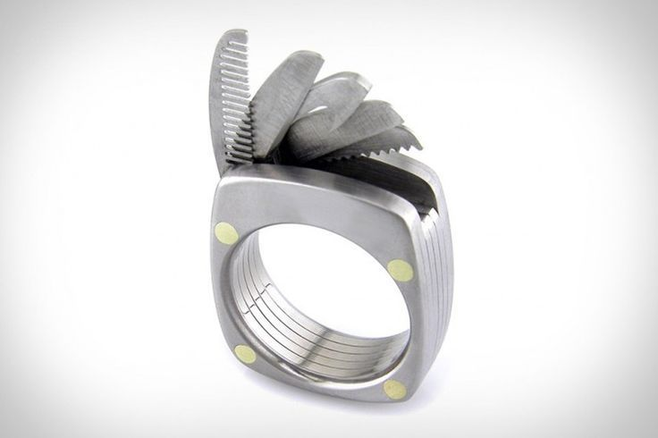 Titanium Utility Ring - contains a bottle opener, straight blade, serrated blade...
