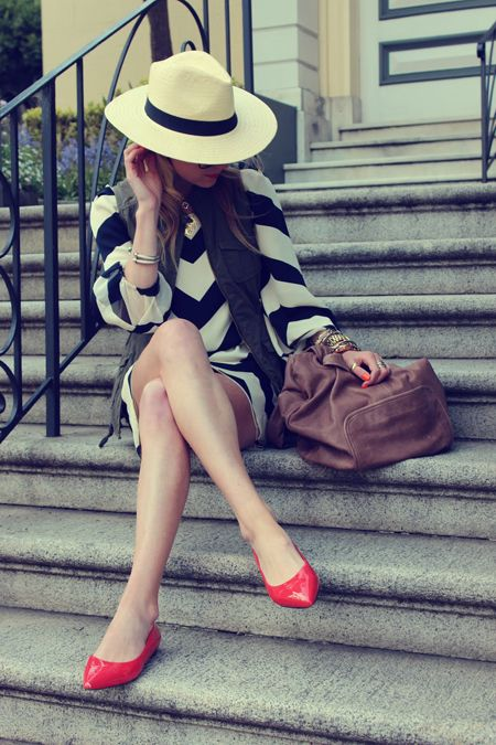 "Atlantic-Pacific: ""Stroll"" panama hat, striped DVF dress, black, ivory, red patent flats"