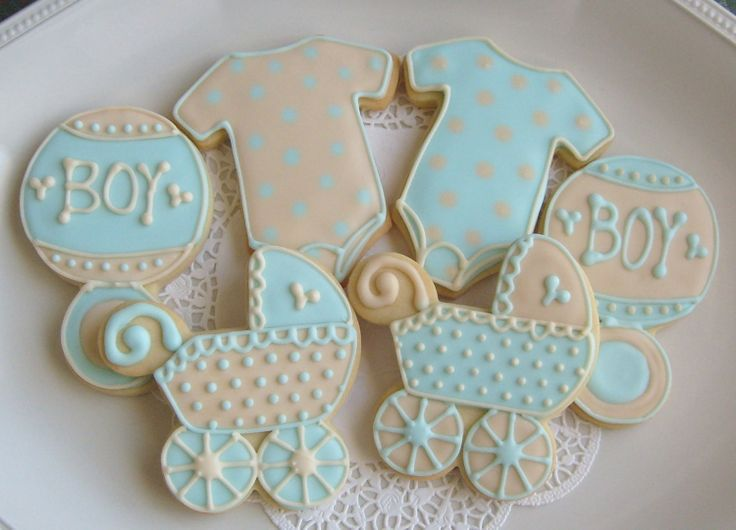 Blue And Ivory Baby Shower Cookie Favors   Baby Shower Decorated Cookies    Onesie Cookie Favors   Baby Carriage Cookie Favors   Baby Rattle Cookie  Favors ...