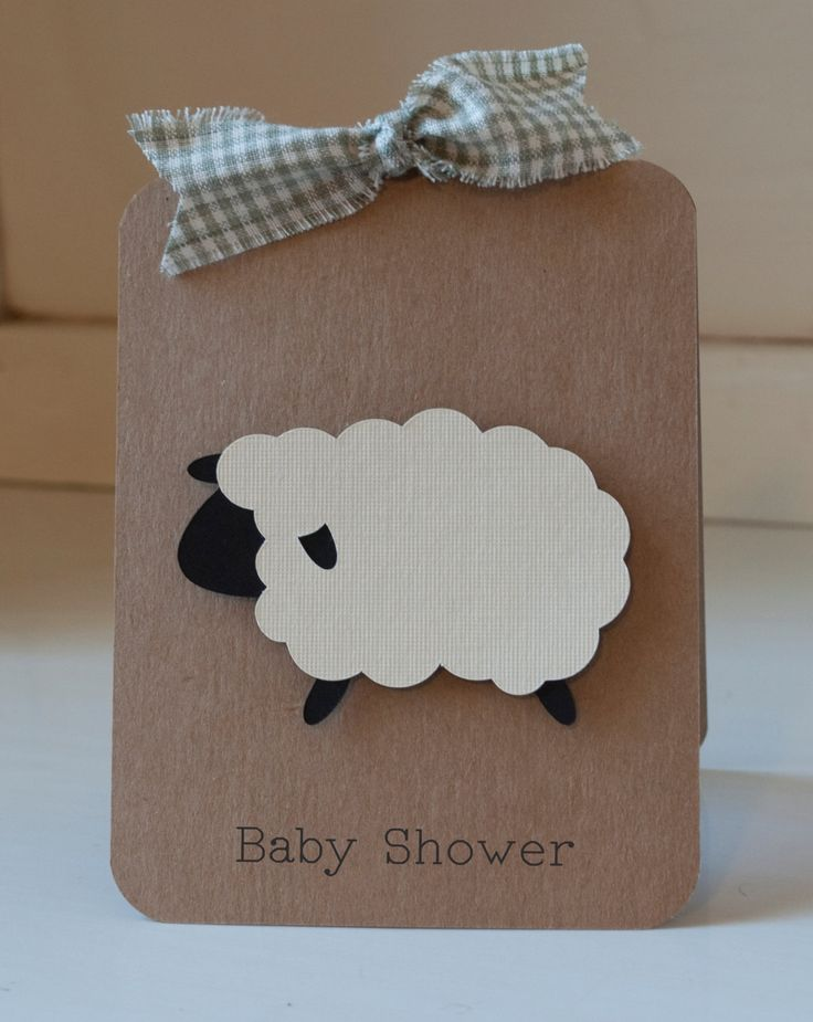 Sheep Lamb Baby Shower Invitations Neutral Thank You Notes Gingham Kraft Rustic VIntage by CardinalBoutique on Etsy