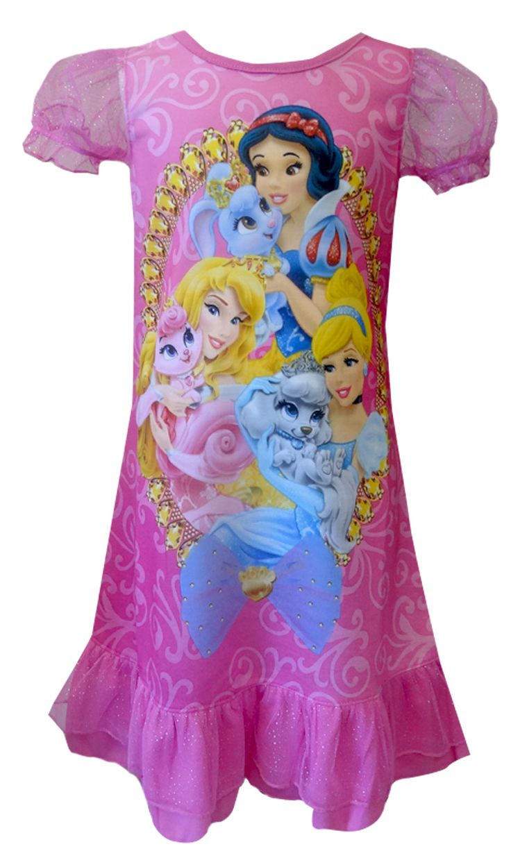 Disney Princesses and Royal Pets Pink Toddler Gown Who doesn't love their pet? These flame resistant night gowns for girls feat...