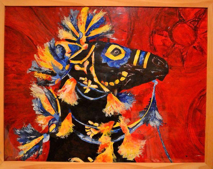 Peinture jour de fête  Cheval  Acrylique