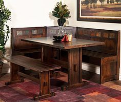 This charming breakfast nook from the Santa Fe Collection is made of distressed birch wood inlaid with slate pieces for a unique rustic look. The set is ideal for a large family with limited space and includes the two-piece L-shaped bench, a dining table, and the side bench.