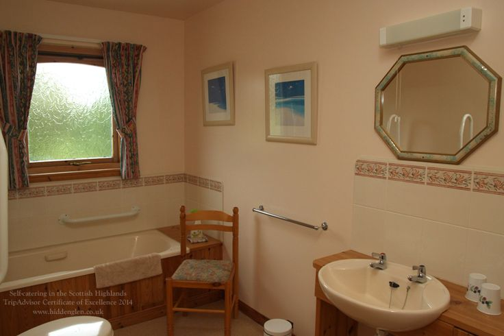 Lodge bathroom has supports for the disabled without looking clinical.