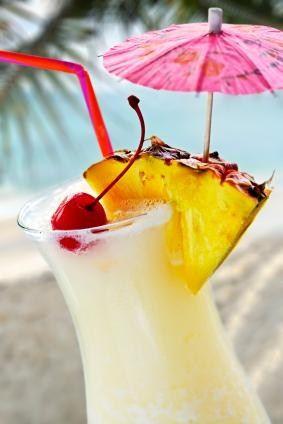 Pina Colada Mocktail   (1/4 cup ice  2 oz cream of coconut 1-1/2 oz crushed pineapple 1 oz pineapple juice)