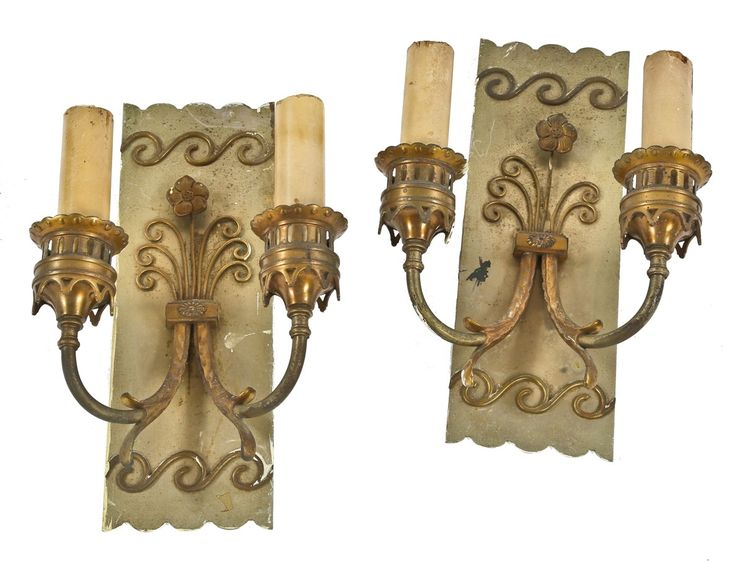 matching set of original c doublearm cook county building electric candle brass wall sconces with original candle sleeves antique period