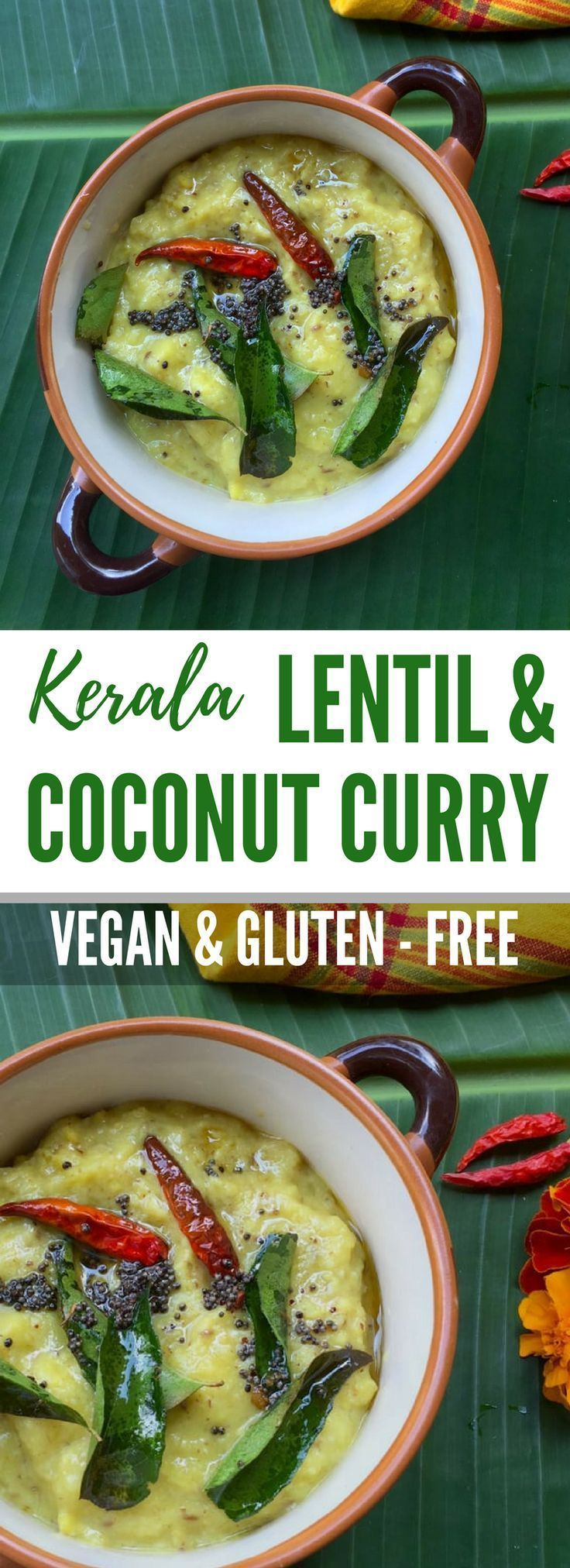 Recipe for Kerala Lentil & Coconut Curry | Yellow moong dal with coconut | Onam Parippu recipe - A simple and delicious recipe as part of the traditional onam feast | Vegan and Gluten-free