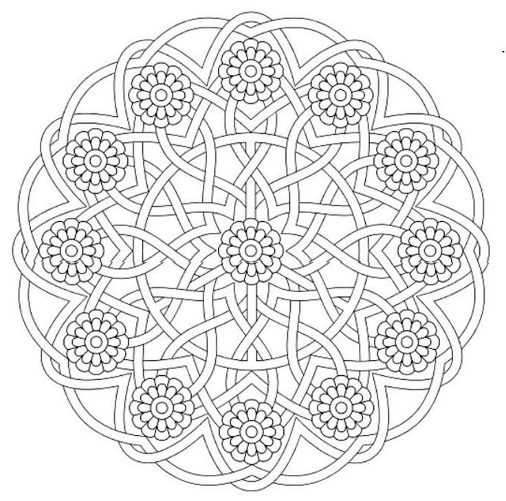 Mandala 643, Creative Haven Groovy Mandalas Coloring Book, Dover Publications