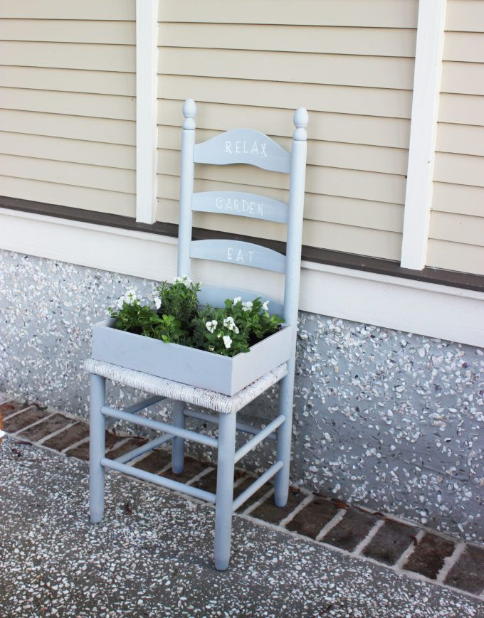How To Create a Herb Garden From a Chair - The Pretty Pintastic Party