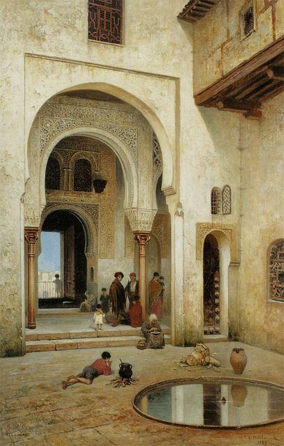 Frans Wilhelm Odelmark: A Courtyard in Alhambra (1889)