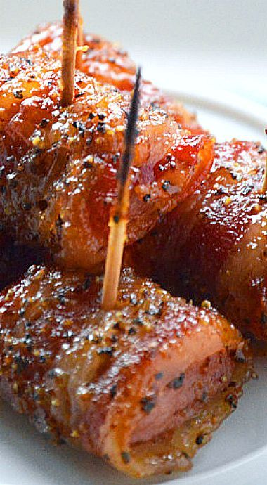 Bacon Wrapped Kielbasa Bites with Brown Sugar Glaze