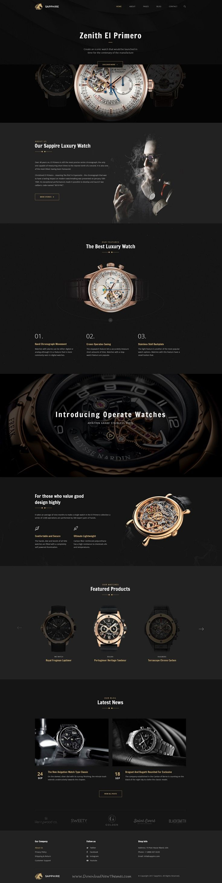 Sapphire is a wonderful #PSD template for #watch store and #luxury products eCommerce website with 13 organized PSD pages download now➩ https://themeforest.net/item/sapphire-luxury-watch-retail-psd-template/19241275?ref=Datasata
