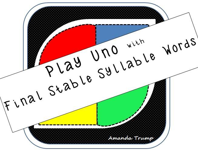 This game gives student exposure to final stable syllable –le words. A final stable syllable is one of the six syllable types in reading. The following word lists include words using both long and short vowels with the following final stable –le consonants: –ble, -cle, -dle, -fle, -gle, -kle, -ple, -sle, -tle, -zle. The game is played just like UNO. There are Draw 2, Reverse, Skip, Wild, Wild 4 cards, and 85+ final stable syllable -le word cards in the deck.