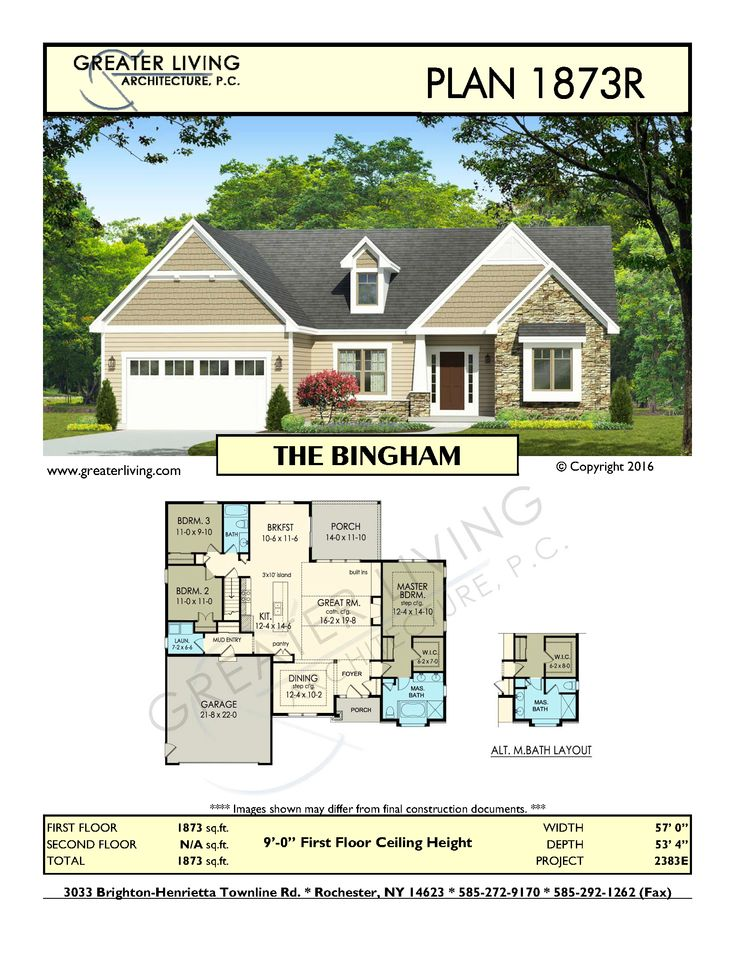 Plan 1873R: THE BINGHAM - Ranch House Plan - Greater Living Architecture - Residential Architecture