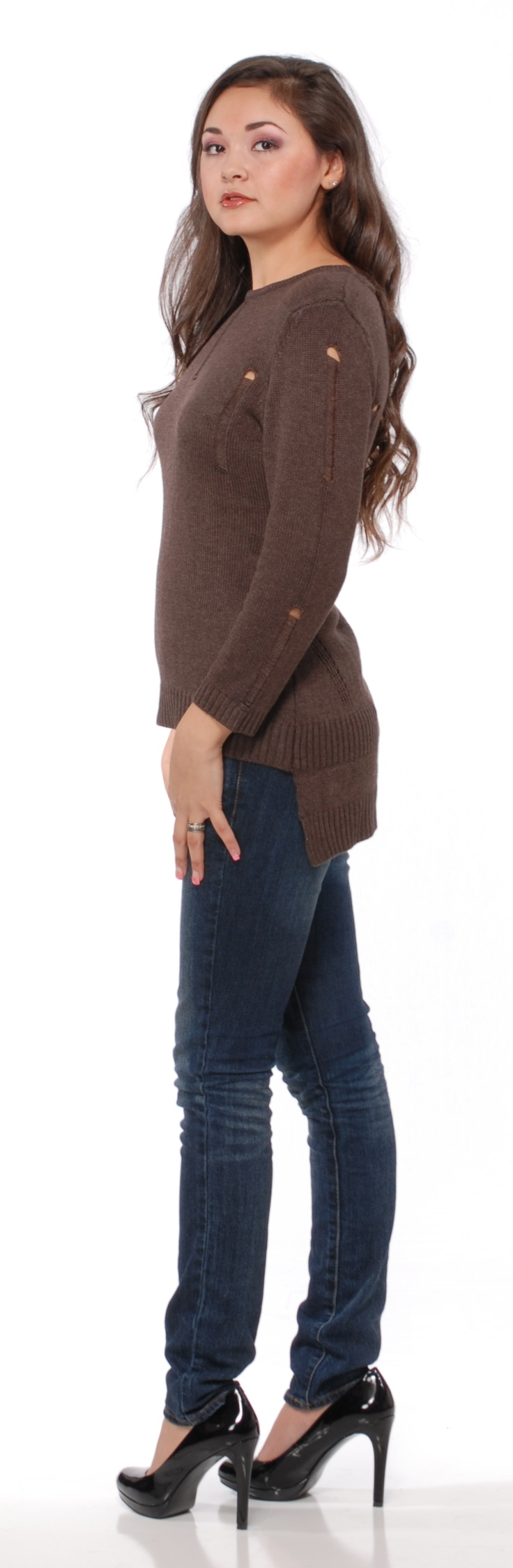 SW64 Long Sleeve Open Knit Tunic  Color: camel & black