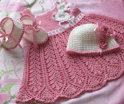 Vestido para niña en crochet. | tejidos para bebe | Pinterest