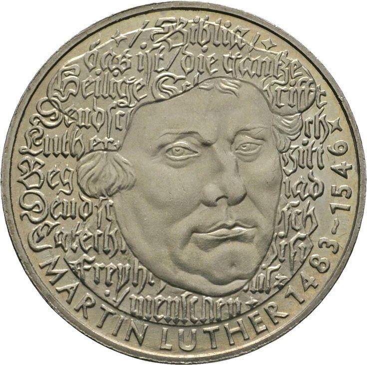 Монеты : ФРГ 5 марок 1983G 500 лет со дня рождения Мартина Лютера
