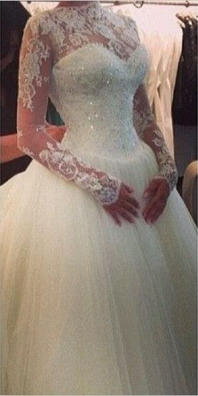2015 Ball Gown Wedding Dresses High Neck Top Lace Appliques Beads Crystal Tulle Court Train Long Sleeves Bridal Gowns