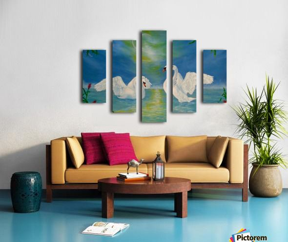 Lake, theme, Home Decor, ideas, for sale, Polyptych, 5 split,  stretched, canvas, multi panel, prints, for sale