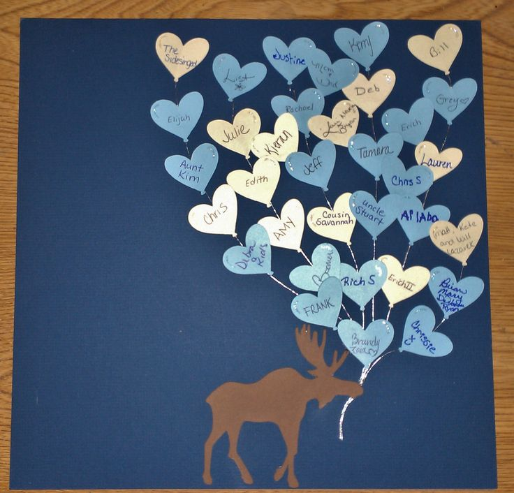 12x12 scrapbook paper - had ea person who attended baby shower sign their name to balloons (cut from cricut cartridge), moose also from cricut cartridge then glued onto paper with string and placed in 12x12 photo display frame