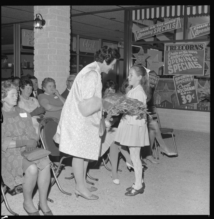 344052PD: Lady Brand at the opening of La Plaza Bentley shopping centre, 1969.  http://encore.slwa.wa.gov.au/iii/encore/record/C__Rb2416485__S344050PD__Orightresult__U__X3?lang=eng&suite=def