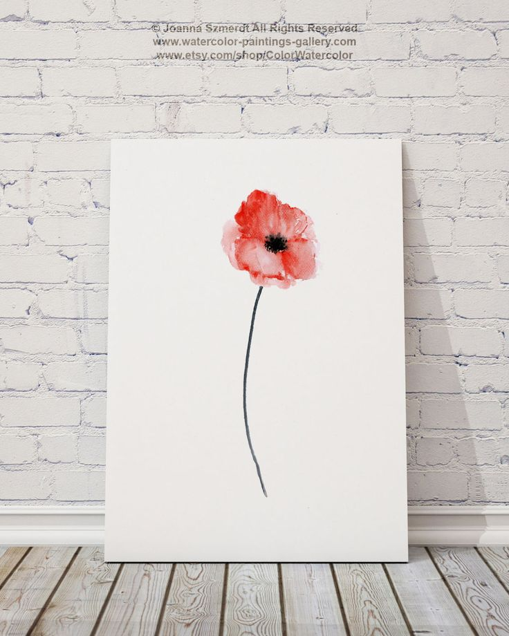 Tirage d'Art mur aquarelle coquelicot rouge par ColorWatercolor