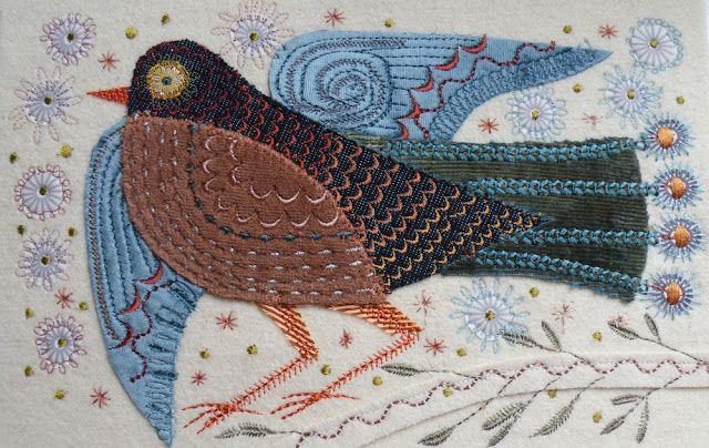 Veludo, seda, algodão estampado, blues e terracota rayon tópicos http://nancynicholson.blogspot.co.uk/
