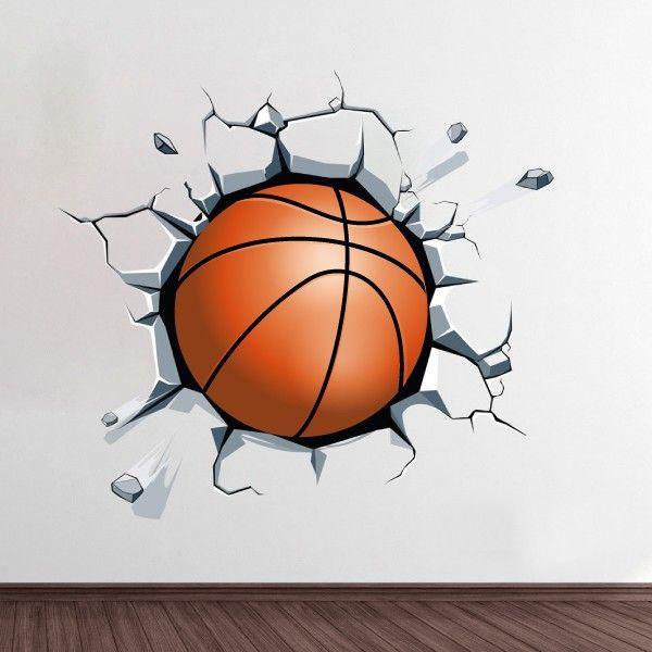 Bola de basquetebol a sair da parede vinil autocolante decorativo