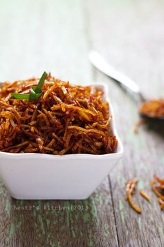 Kering ubi jalar - deep fried sweet potato with spicy glaze [Recipe in Indonesian]