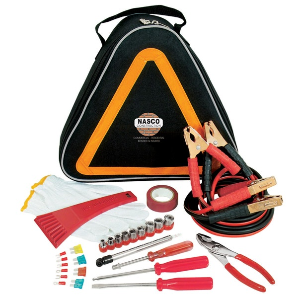 GP2937 - CAR SAFETY KIT    A terrific gift idea!     Attractive carry case has illuminated, reflective tape on the outside. Features: battery booster cables, car fuses, ice scraper, electrical tape, gloves, tire gauge, wrench, screwdrivers and ratchet set. Not available for sale in the USA.
