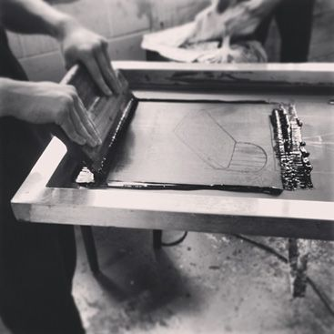 Hand screen printing in Sheffield for Talented Totes - http://www.talented-totes.com