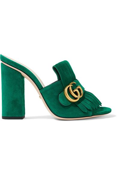 Love this by GUCCI Marmont Fringed Suede Mules - $695