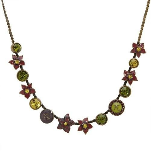 Superb Necklace With Genuine Crystal   Superb necklace with genuine crystals crafted in brown base metal and multicolor enamel. Total item weight 15.5g. Gemstone info: 26 crystals with round shape and multicolor.