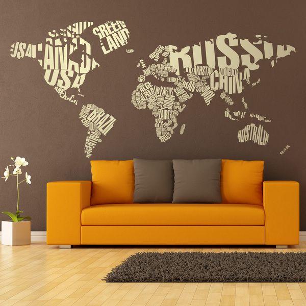 Mappa del mondo tripografico per decorare una parete #mappa #politica #adesivi #murali #vinile #deco #decorazione #muro #StickersMurali