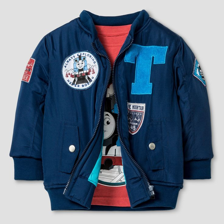 Hit Toddler Boys' Bomber Jacket and Long Sleeve Tee Set - Navy (Blue) 4T