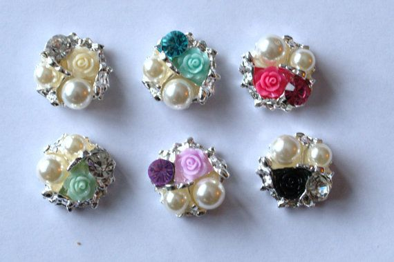 25 mm pear rhinestone rose resin  flat back button no shank  (DIY , flower center embellishment , headband clips) $1.99