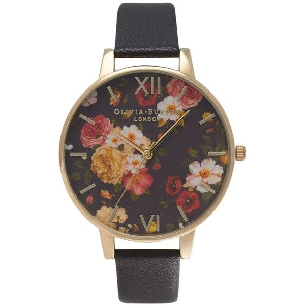Women's Olivia Burton Signature Florals Leather Strap Watch, 38Mm ($125) ❤ liked on Polyvore featuring jewelry, watches, olivia burton jewellery, dial watches, olivia burton, olivia burton watches and flower watches