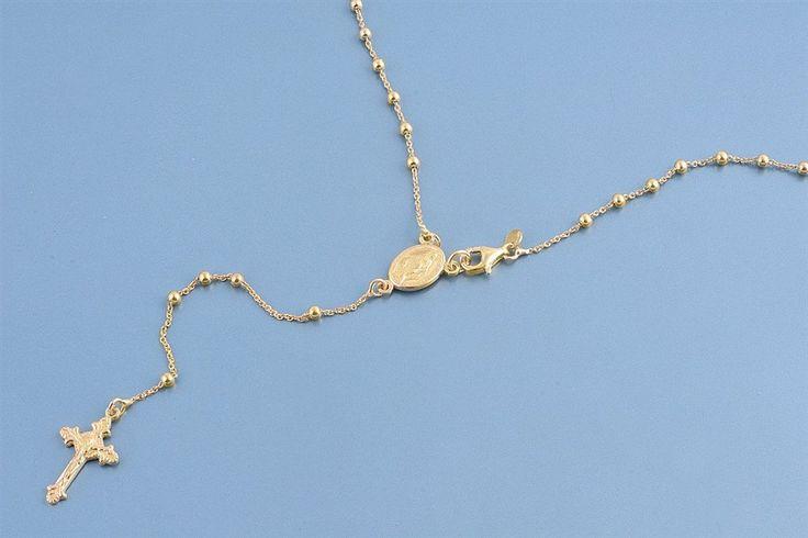 Italian 14K Yellow Gold Rosary Necklace Prayer Pendant