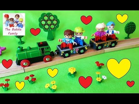 Lego Duplo mini movie. Bubble Family kids go to see farm animals and ride on a Brio train.