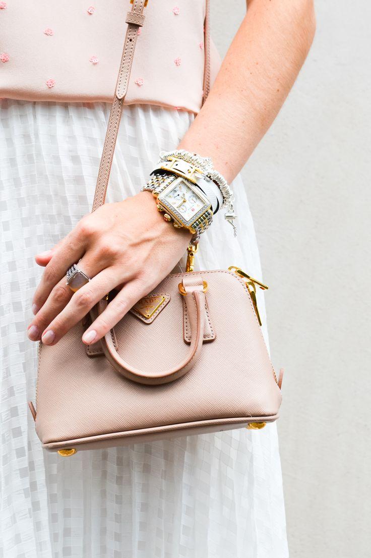LCB Style fashion blogger // solids, tibi, midi skirt, tibi skirt, prada, mini bag, michele watch, ditto, elizabeth and james, mirrored sunglasses, tibi tank