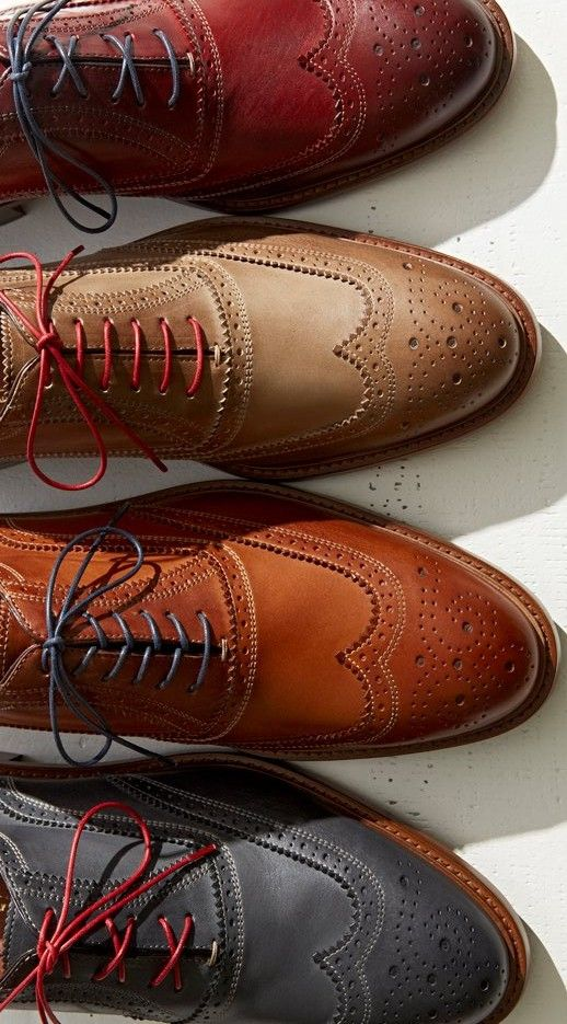 Colored laces give Wingtips a more modern look. Little details can make a big impact.men's fashion