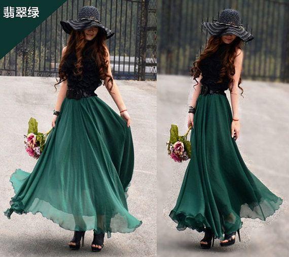 Green Skirt  fashon skirts Long Skirts Chiffon Skirt on Etsy, $39.99