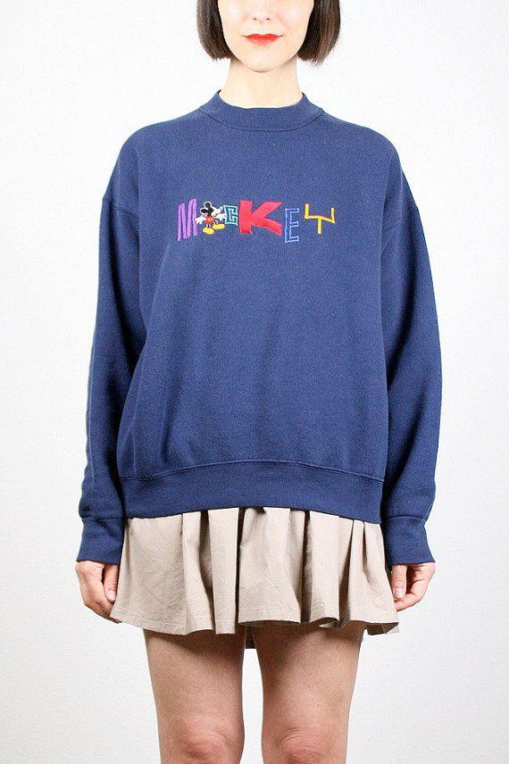 Vintage Mickey Mouse Sweatshirt Mickey Sweater Jumper Embroidered Disney T Shirt Slouch Sweatshirt 1990s 90s Grunge Navy Blue Shirt L Large #vintage #etsy #90s #1990s #mickeymouse #disney #mickey #sweatshirt #tshirt #kawaii #jumper