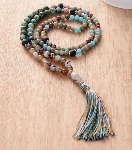 Natural Stone Onyx with Colorful Tassel Mala Boho Necklace