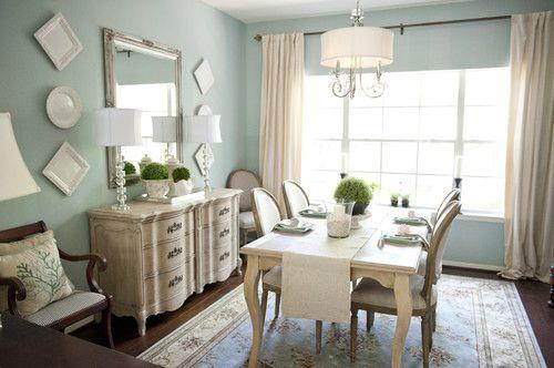 Pretty color. BM Glass slipper...Elegant Dining Room traditional dining room